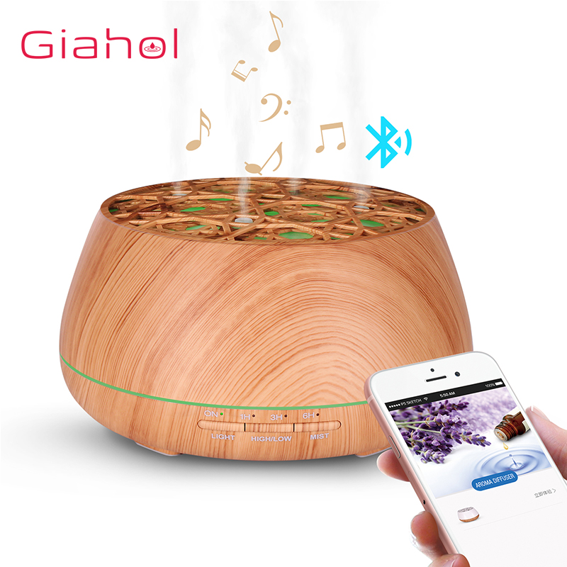 400ml Wood Grain Ultrasonic Aroma Essential Oil Diffuser with Bluetooth Wireless Music Speaker timer Aromatherapy Air