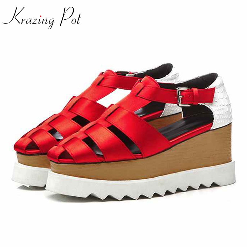 Krazing Pot cow leather silk oriental brand shoes 8cm high heels Summer hollow pumps handmade British school platform shoes L08 krazing pot 2018 cow leather simple design breathable high heels hollow women pumps round toe brown white color brand shoes l92