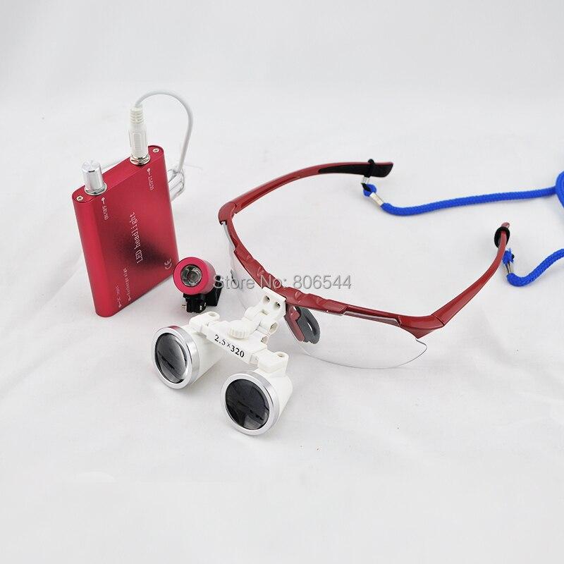 New Red 2.5 X Dental Surgical Binocular Loupes Dentist 320mm +LED Head Light N+F 188041-9P