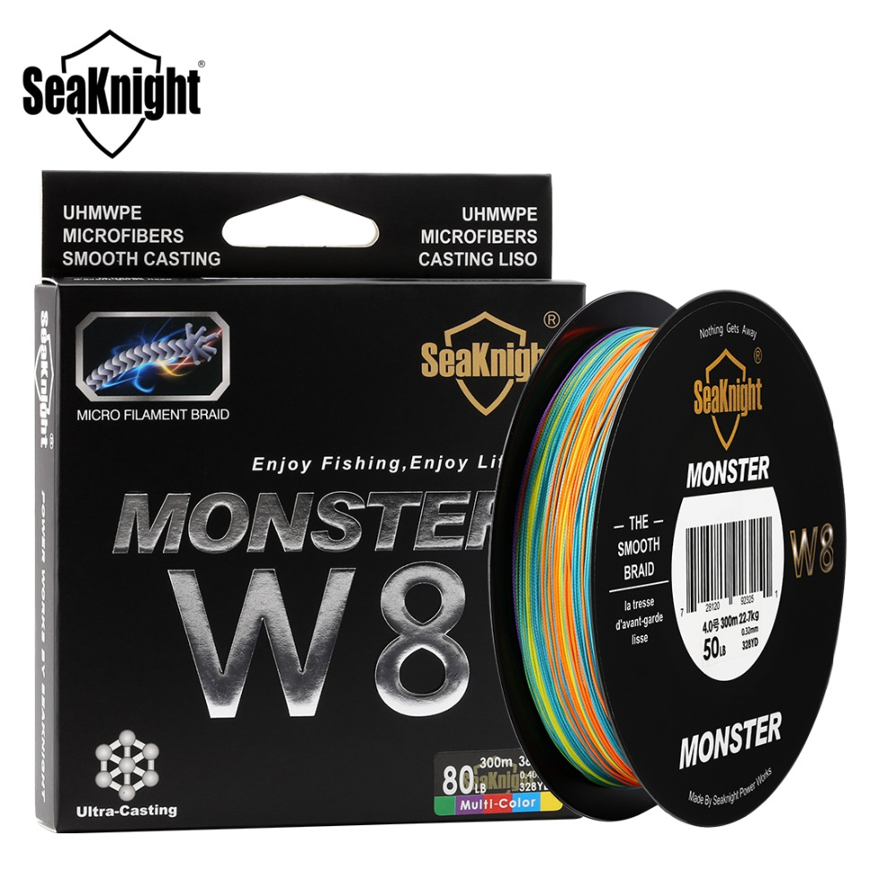 SeaKnight <font><b>Monster</b></font> <font><b>W8</b></font> Multi-Color 8 Strands PE Fishing Line 500M 15 20 30 40 50 80 100LB Smooth Braided Lines Carp Fishing image