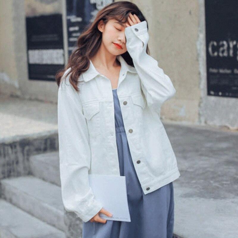 Женская джинсовая куртка с длинным рукавом, свободная джинсовая куртка Harajuku, новинка весны 2019