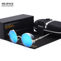 2017 New Vintage Round Metal Steampunk Sunglass Women Brand Designer Metal Carving Sun Glasses Driving Men