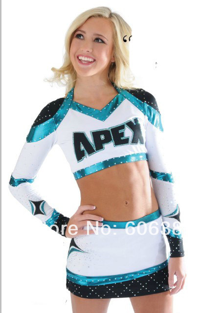 cheerleader uniform cheerleader outfit custom your style long sleeve black blue white color +A skirt mini order 5 sets  sc 1 st  Aliexpress & Online Shop cheerleader uniform cheerleader outfit custom your style ...