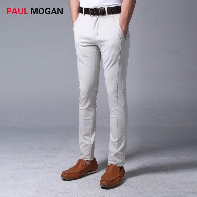 38aaa16a78 Paul Mogan pantalones hombres gris slim fit chándal moda masculina de alta  calidad de los hombres
