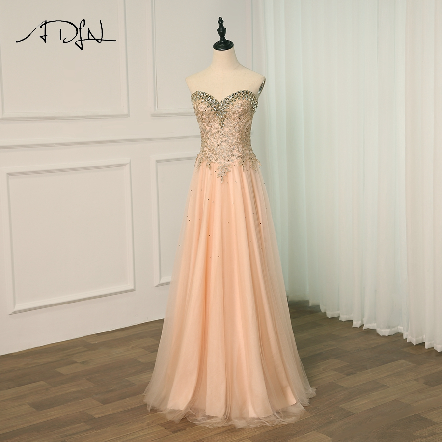 ADLN Sexy   Prom     Dress   2018 Sweetheart A-Line Beaded Evening   Dresses   Long Luxury   Prom   Party Gown Robe de Soiree Back Lace-up