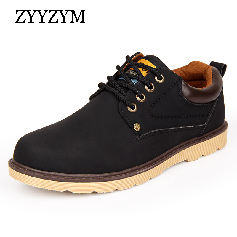 ZYYZYM Man Casual Shoes Spring Autumn Lace-up Style Pu Leather Flat Fashion Trend Round Toe Men Work Shoe 2018 Hot Sale hot sale casual shoes men spring autumn waterproof solid lace up man fashion flat with pu leather outdoors shoe