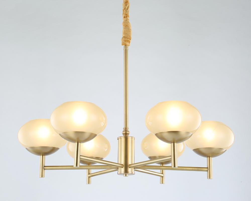 Moderne Réel Bronze Cuivre Lustre pour Chambre Salle À Manger Salon Ronde En Verre Grand Lustre Éclairage BLC087