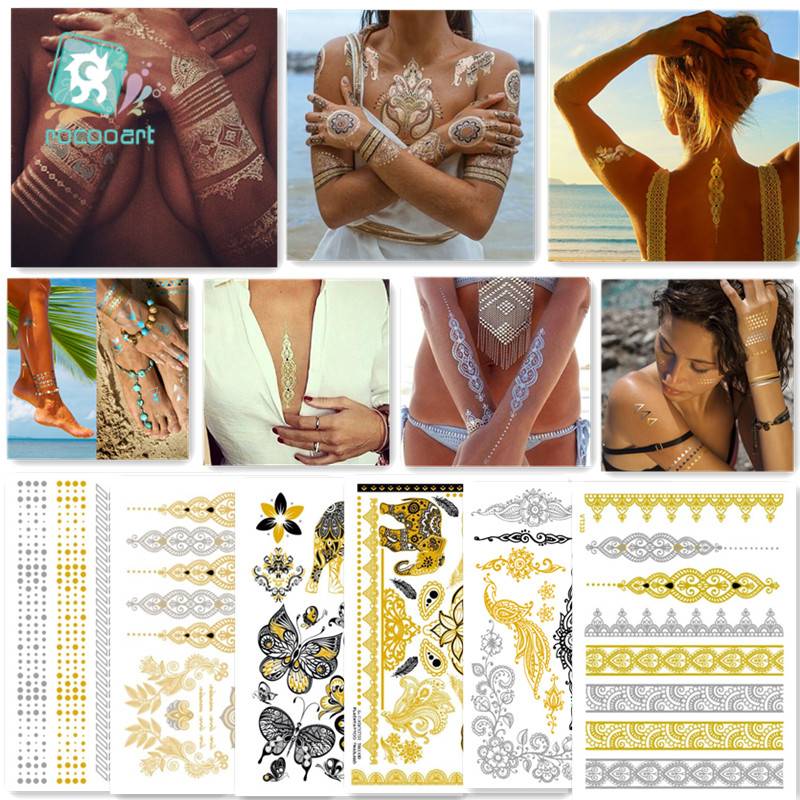 6Pcs Indian Arabic Designs Flash Metallic Waterproof Temporary Tattoos Gold Silver Tatoo Fake Tatoo Sticker Girls On Body in Temporary Tattoos from Beauty Health