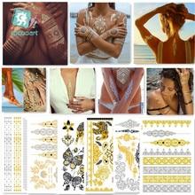 6Pcs Indian Arabic Designs Flash Metallic Waterproof Temporary Tattoos Gold Silver Tatoo Fake Tatoo Sticker Girls On Body.