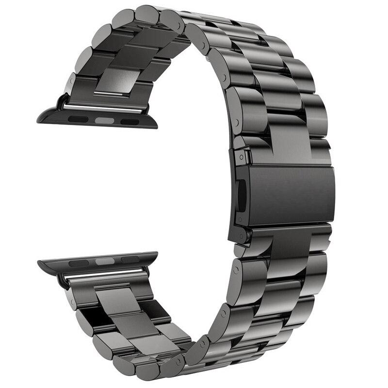 Prix pour Pour Apple montre Band 42 mm noir or Bracelet en acier inoxydable boucle sangle Clip adaptateur pour Apple montre Band 38 mm pour iWatch