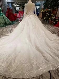 Image 2 - LSS486 vestidos de novia de alta calidad real tren largo cuello pico manga larga brillante vestido de novia 2020 nuevo diseño de moda