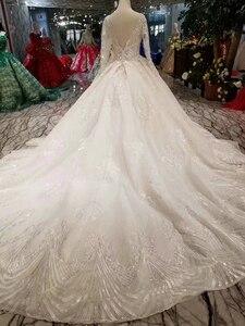 Image 2 - LSS486 высокое качество свадебное платье Королевский длинный шлейф V образный вырез длинный рукав блестящее платье для невесты свадебное платье 2020 новый модный дизайн