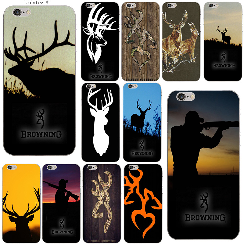 hot sales fe88a 48182 Hot Browning Hunting Deer Head Soft Slim Phone Case TPU Silicon Cover for  iPhone 8 7 6 6S Plus X 5 5S SE 5C 4 Shell Coque Fundas