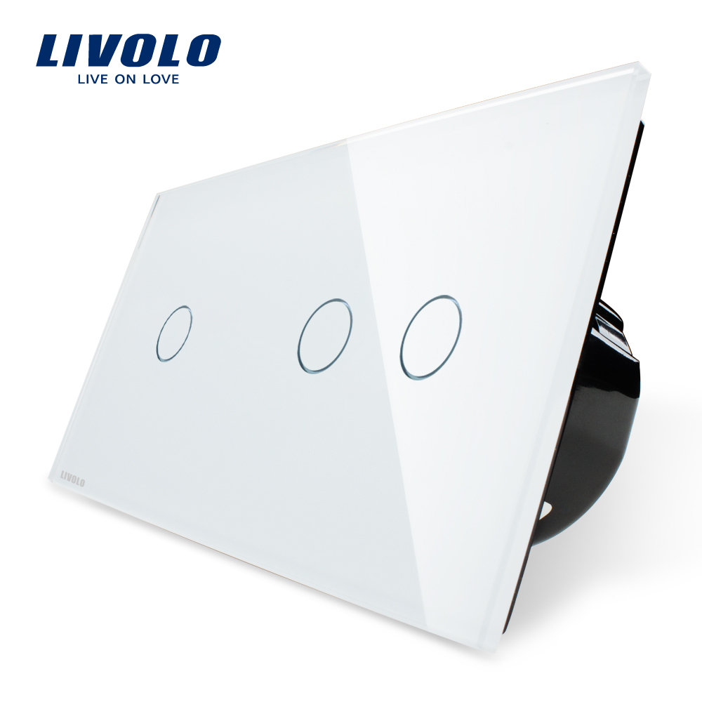 Manufacturer,Livolo EU Standard, Touch Switch, White Crystal Glass Panel,Wall Light Smart Switch, VL-C701+C702-11 uk standard 3gang1way sankou led touch switches white crystal glass panel light wall switch smart home ac220v 110v