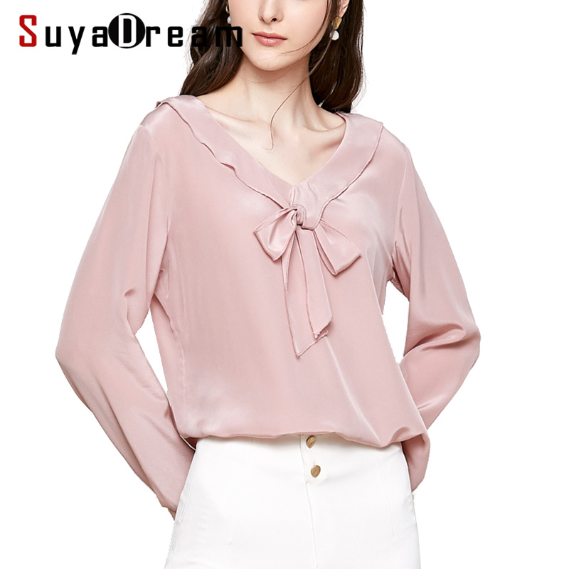 Women Silk   Blouse   100% REAL SILK CREPE Solid   Blouses   for Women V Neck Long Sleeved Pink   Blouse     Shirt   2019 Spring New   Blouses