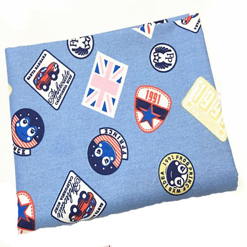 50x160cm Denim Blue Cartoon Odznaky Potištěné bavlněné textilie Oblečení Prošívaná podestýlka DIY šicí textilie