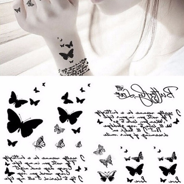 8e67f9ca44ed8 Flying Butterfly Waterproof Paper Temporary Tattoo Letter Body Sticker 3D  Butterfly Tattoo Decals Body Art Decal