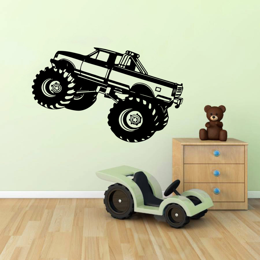 Peachy Us 8 89 30 Off Monster Truck Car Suv Wall Sticker For Kids Room Boy Nursery Bedroom Vinyl Mural Home Decals Decor Wall Art Muraux Poster S 138 In Home Interior And Landscaping Ologienasavecom