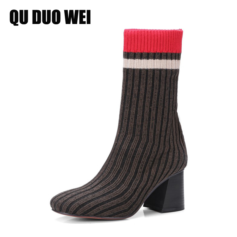 QUDUOWEI 2018 Fashion Knitted Women Ankle Boots Elastic Slim Autumn Winter Warm Long Thigh High Heel Sock Boots For Woman Shoes fashion women boots knee high elastic slim autumn winter warm long thigh high knitted boots woman shoes or935432
