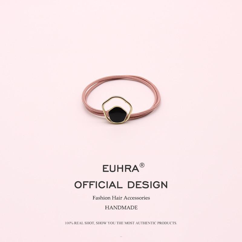 EUHRA 8 Colors Striped Elastic Geometric Black Pendant Hair Alloy For Women Hair Band Kid Children Rubber Band Hair   Headwear