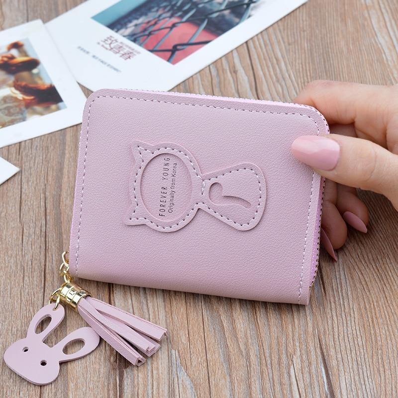 Portefeuille pour femmes, marque de luxe, Mini porte-monnaie pour femmes, à fermeture éclair, chat mignon, nouveau 2020