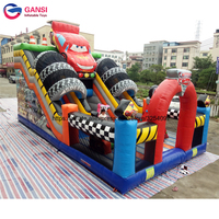 Cute cartoon inflatable jumping castle with two slides car model bouncy castles lows price 10*7*6 inflatable bouncer for kids
