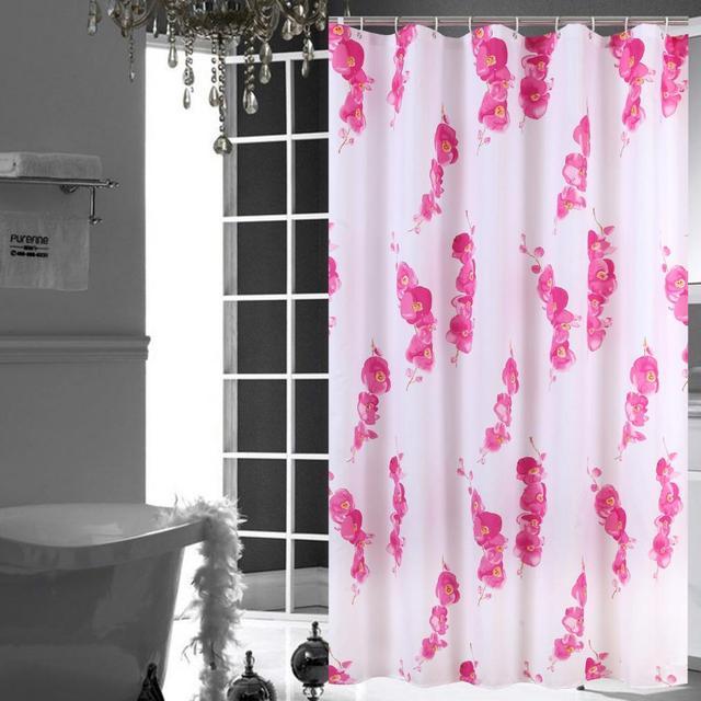 Rideau De Douche Fleur Rouge Moderne Style Rustique Impermeable Polyester Tissu Rideau Salle Bain Pour La Decoration Maison