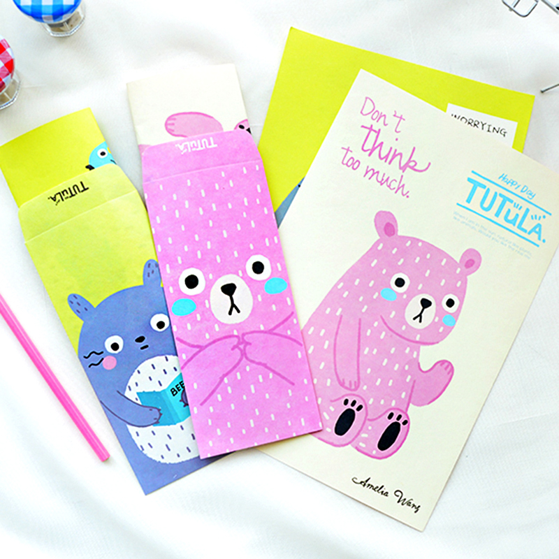H31 1 Set=6 Paper + 3 Envelope Cute Kawaii Totoro Tutula Paper Letter Stationery Set Writing Greeting Birthday Message