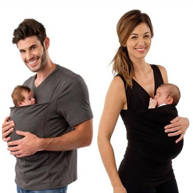 Família correspondência Portador de Bebê Canguru T-Shirt Roupas para O Pai Mãe com o Bebê-manga Curta T-shirt do Bolso Grande camiseta top