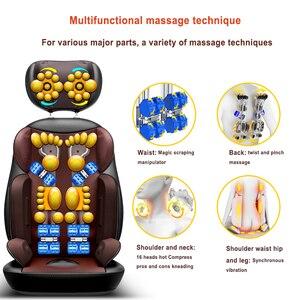 Image 2 - Shiatsu silla eléctrica de masaje corporal multifuncional, cojín de calefacción con vibración para relajación, cuello, espalda, oficina y hogar