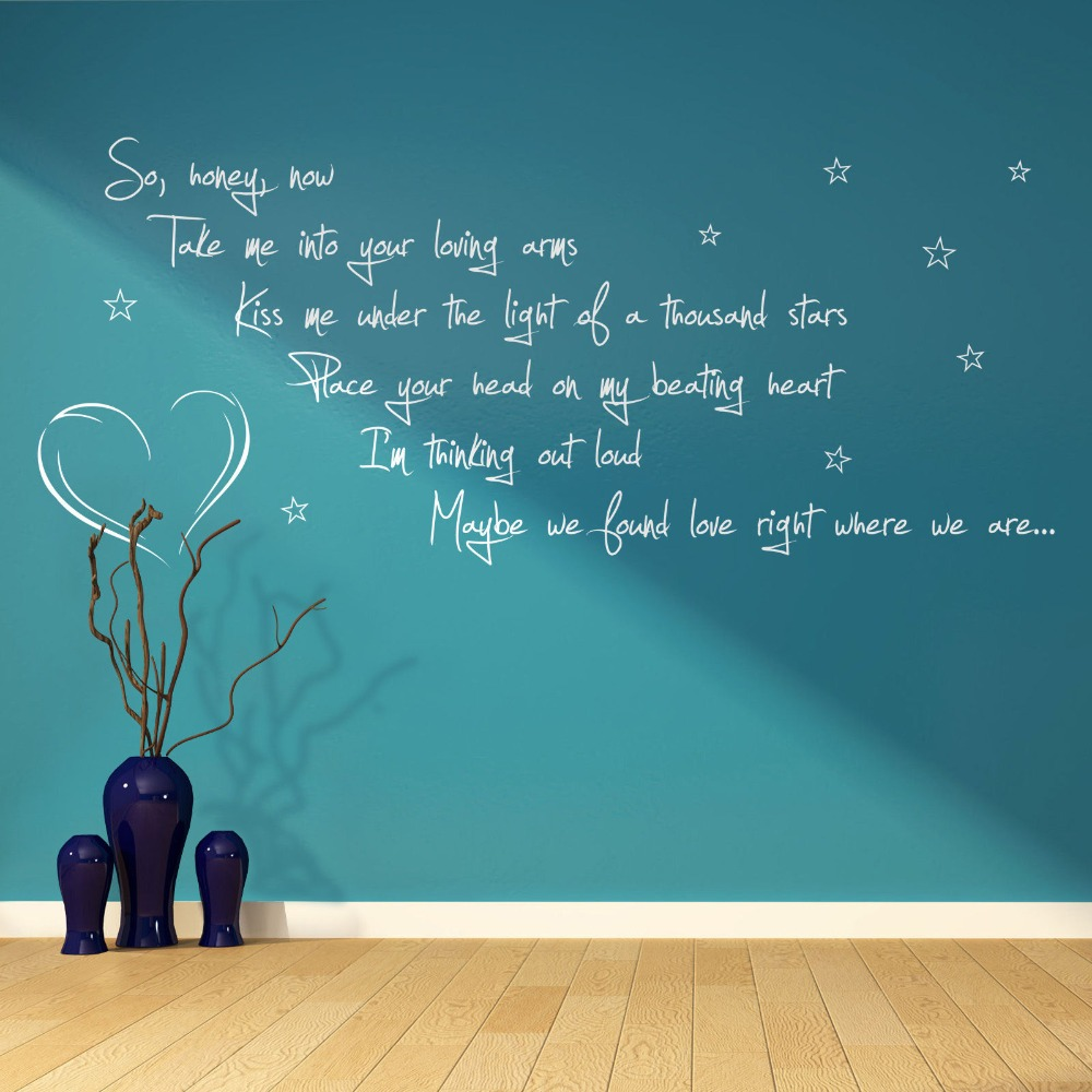 Sofa Lyrics By Ed Sheeran Us 5 59 Ed Sheeran Thinking Out Loud Song Lyrics Verse Quote Vinyl Wall Art Sticker Room Living Kitchen Home Decor Wall Decals D705 In Wall Stickers