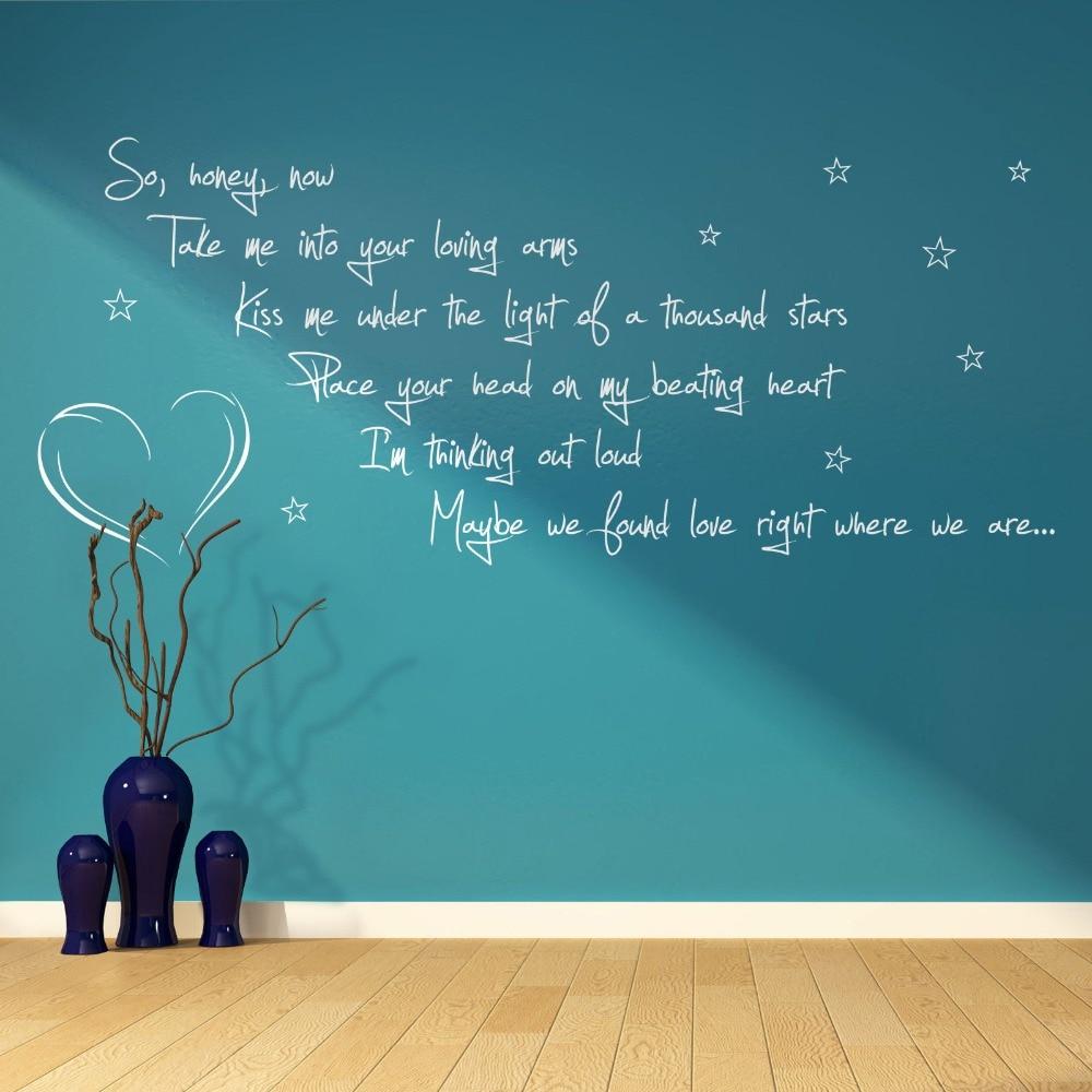 Ed Sheeran Thinking Out Loud Song Lyrics Verse Quote Vinyl Wall Art