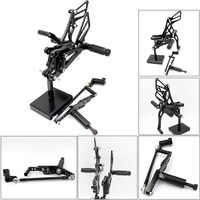 CNC Aluminum Motorcycle Rear Adjustable Rear Sets Set Footrests For Yamaha YZF R1 YZF R1 2007 2008