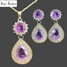 jiayijiaduo Crystal Pendant Earrings Jewelry Set for Women Clothing Accessories Purple Necklace Set water drop jewellery(China)