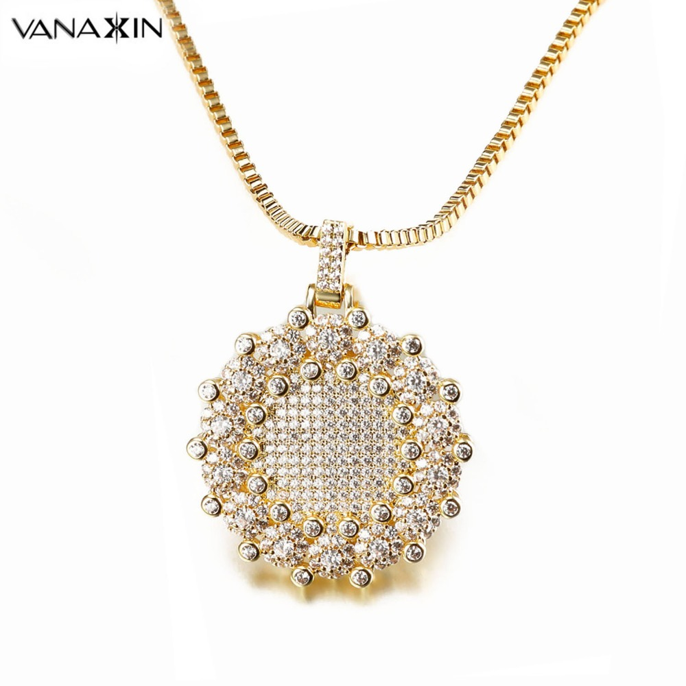 VANAXIN Round Iced Out CZ Micro Paved Pendants For Men Women Shiny Jewelry Gold/Silver Color Box Gift Fine Jewels For Women