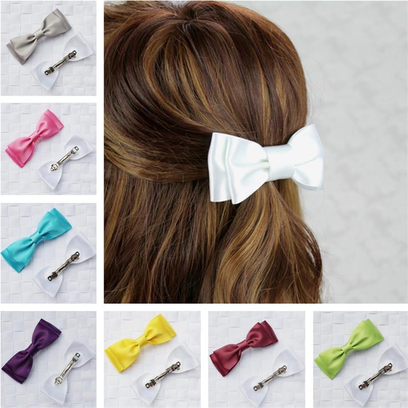 korean solid ribbon bows barrette