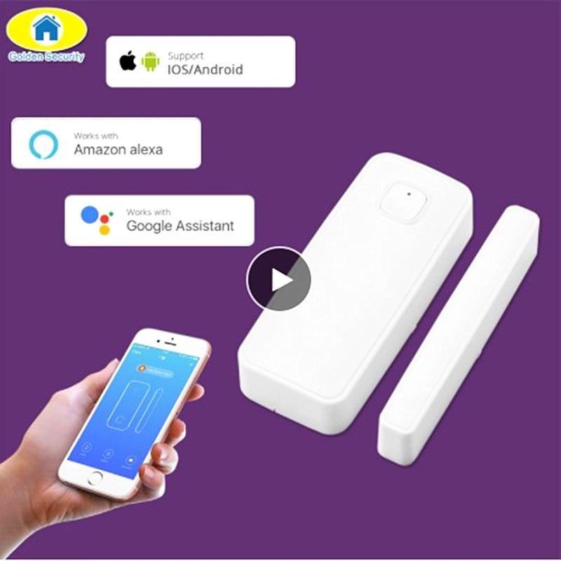 WI-FI Porta Janela Sensor Interruptor Magnético de Alarme de Segurança Sem Fio Da Porta de Controle APP de Abertura Da Porta Do Sensor Compatível com Alexa