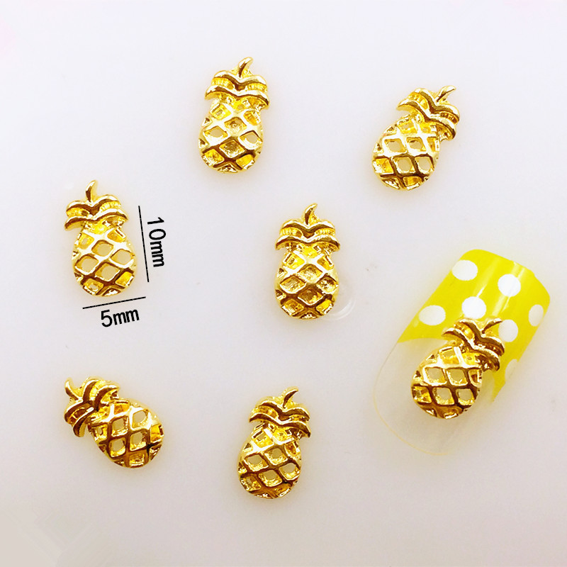 10pcs Nail Art Decorations Fruit On Nails Charm Nail Jewelry Ananas Decorations Golden Metal Spangles for Nail Accessories 32175