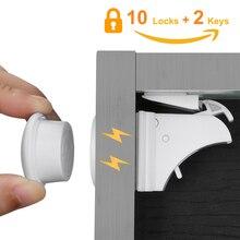 10 schlösser 2 Tasten Magnetische Schrank Schlösser Sicherheit Baby Schrank Lock Kinder Schutz Kinder Schublade Locker Kinder Schlösser