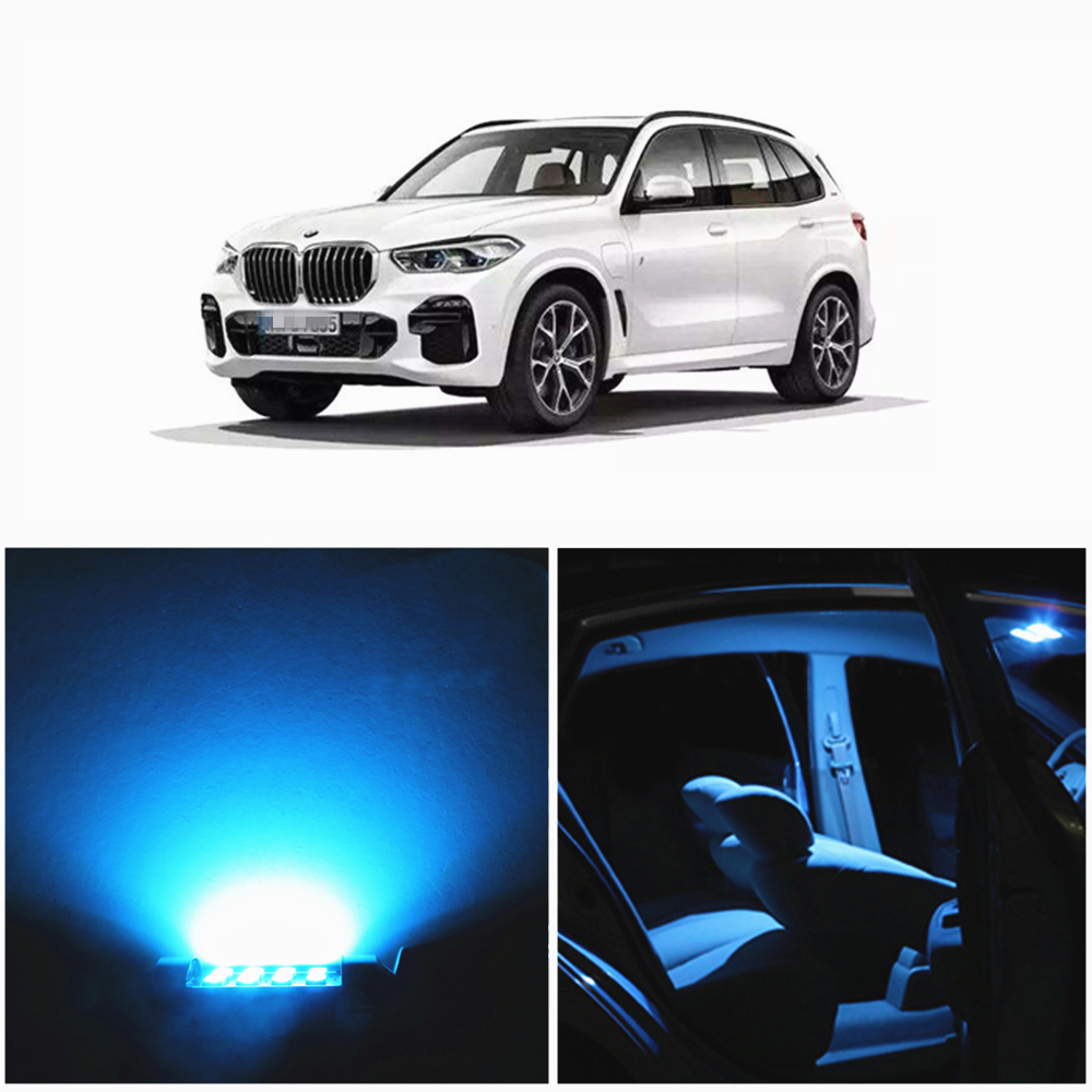 WLJH 19x Canbus Bright White Ice Blue 2835 Chip Error Free Car LED Interior lighting Package Kit for BMW X5 E53 2000 2006