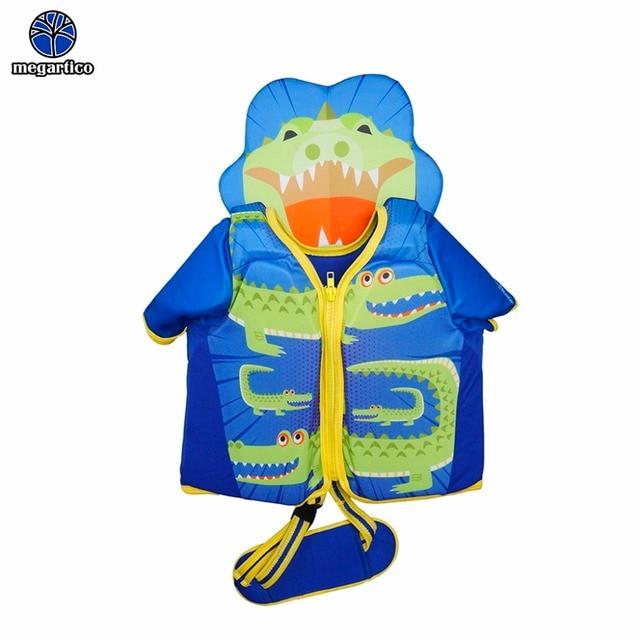 Megartico chaleco salvavidas agua los niños deporte lindo cocodrilo nadar entrenador Chaleco con cabeza pad niño protección solar salvavidas 2-6