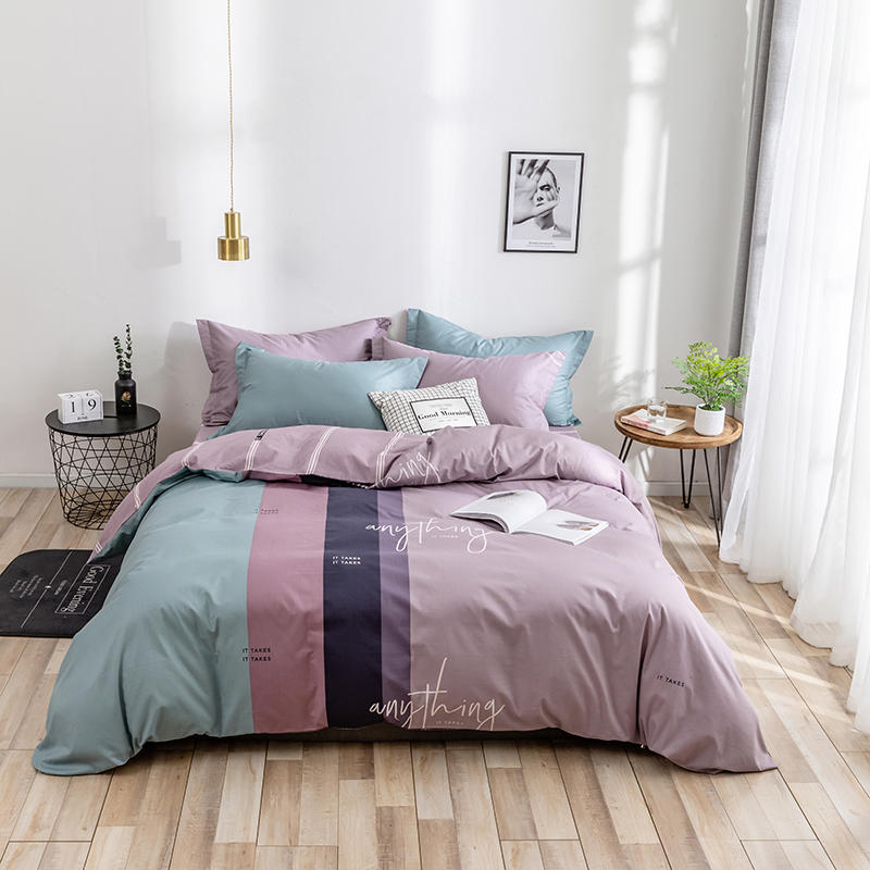 Mix And Match Colors Bedding Set Luxury Bed Set Queen King Size Bed Sheet Cotton Duvet Cover Set Big Stripe Bed Linen