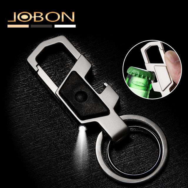 Creative Design Luxury Keychain For Women Man Bottle Opener LED lights Car Key Chain Metal Key Ring Birthday Gifts Key Holder