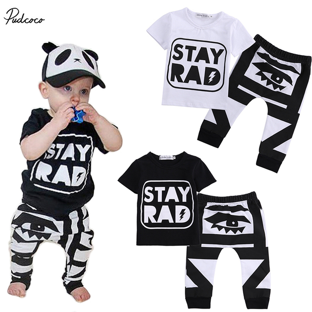 Newest 2017 Autumn Baby Boy Clothes Infant Clothes Cotton Letter Printed Short Sleeve T-shirt + Pant 2pcs Baby Clothing Sets