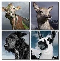 BANMU Lindo Animales Canguro Perro de Ganado y Alpaca Impresiones de la Lona Moderna Pinturas de Arte Abstracto de La Pared para la Sala de Decoración