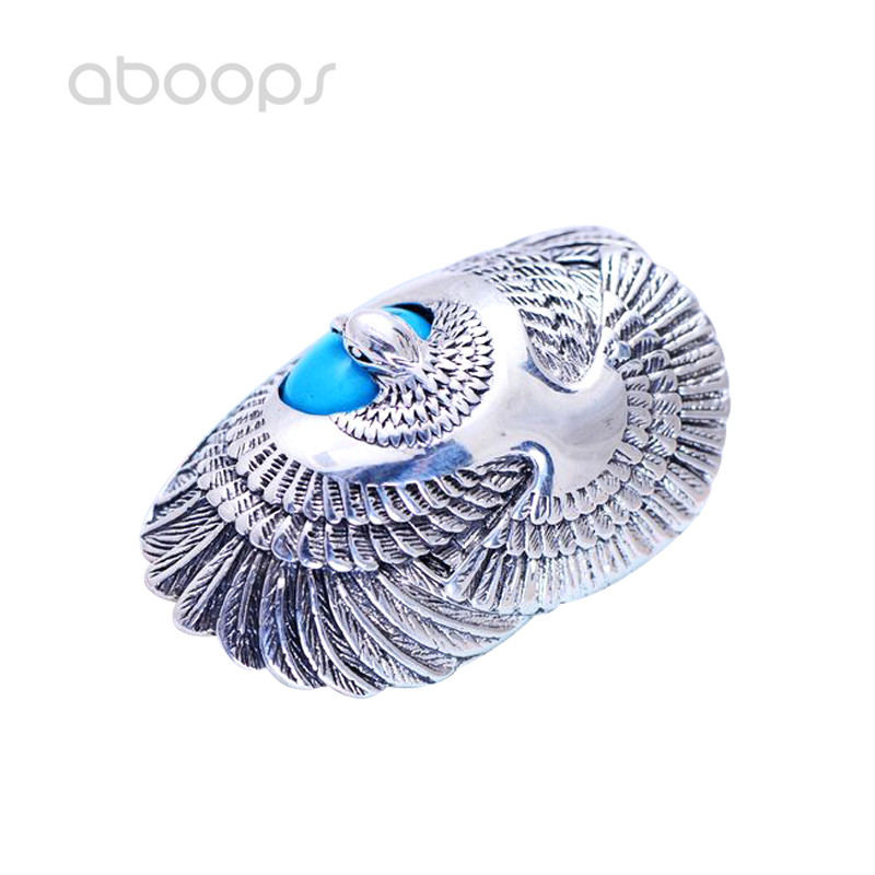 Punk Big 925 Sterling Silver Eagle Ring with Nature Stone for Men Boys Size 8 9 10 11 Free Shipping цена