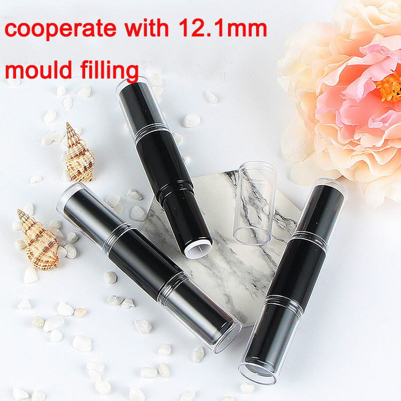 10//50/100pcs 12.1mm Double Head Black Lipstick Tube DIY Lip Rouge Pipe Shell Cosmetic Lip Balm Container Makeup Package Bottle 10 20 50 100pcs gold square empty lipstick pipe shell diy lip balm tube cosmetic makeup packaging container for lip rouge mouth