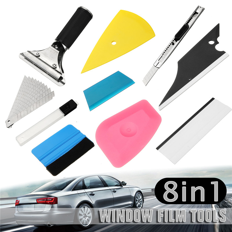 9pcs Vehicle Glass Protective Film Car Window Wrapping Tint Vinyl Install Tool