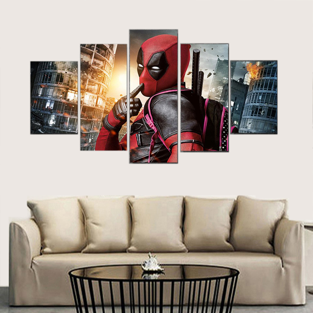 HD Print 5 Pieces Movie Poster Marvel Deadpool Modern Home Canvas Picture Art Painting On Canvas For Living Room Canvas Wall Art