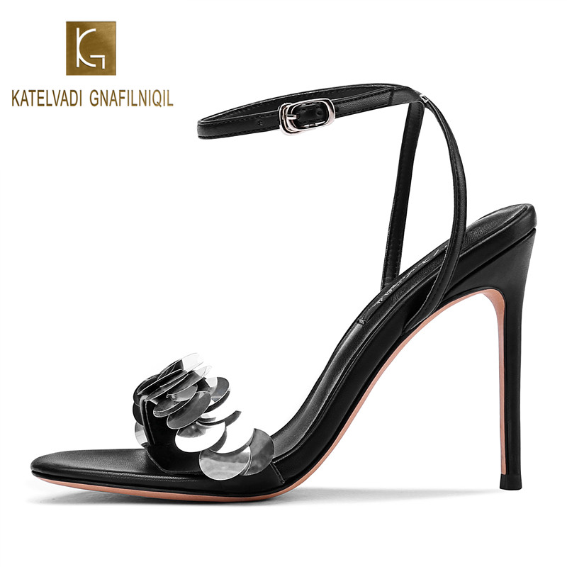 KATELVADI Women Ankle Buckle Strap Sandals Fashion 10CM High Heels Sandal Summer Sequin Thin Pumps Shoes K-376